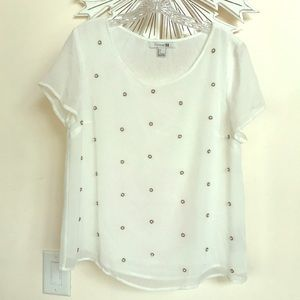 Forever 21 Pearl See Through White Blouse Top L